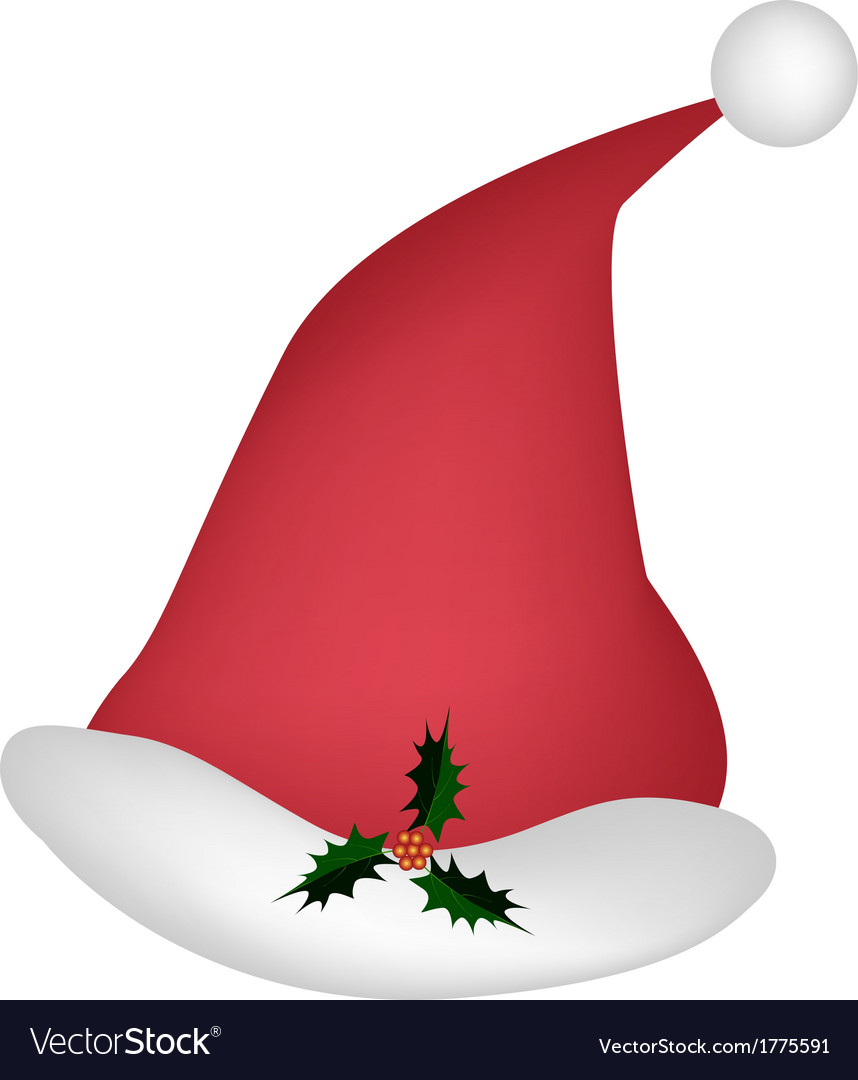 A lovely red santa hat on white background vector | Price: 1 Credit (USD $1)