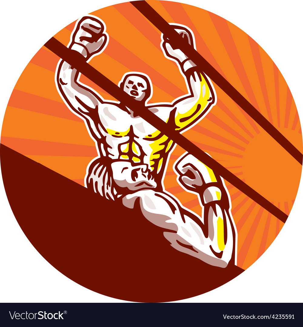 Amateur boxer winning circle cartoon vector | Price: 1 Credit (USD $1)