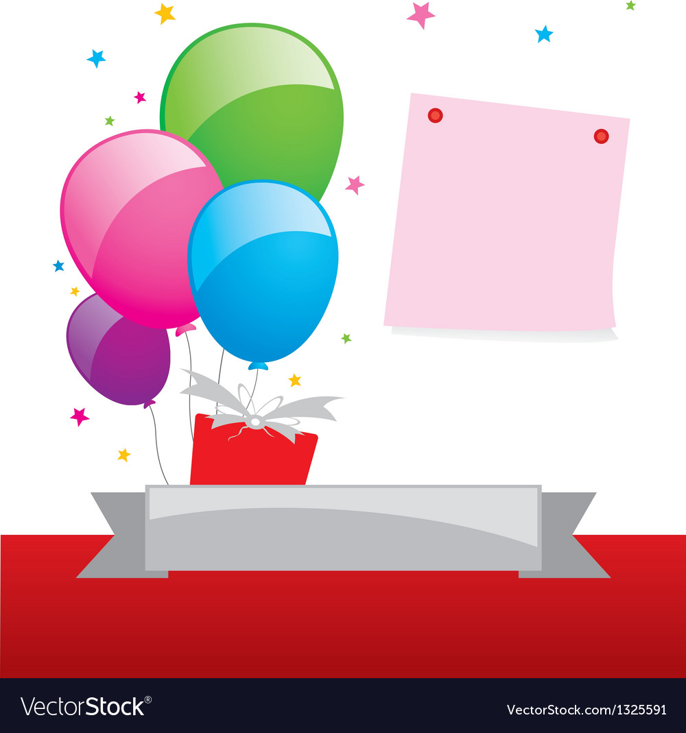 Balloon and note pad design vector | Price: 1 Credit (USD $1)