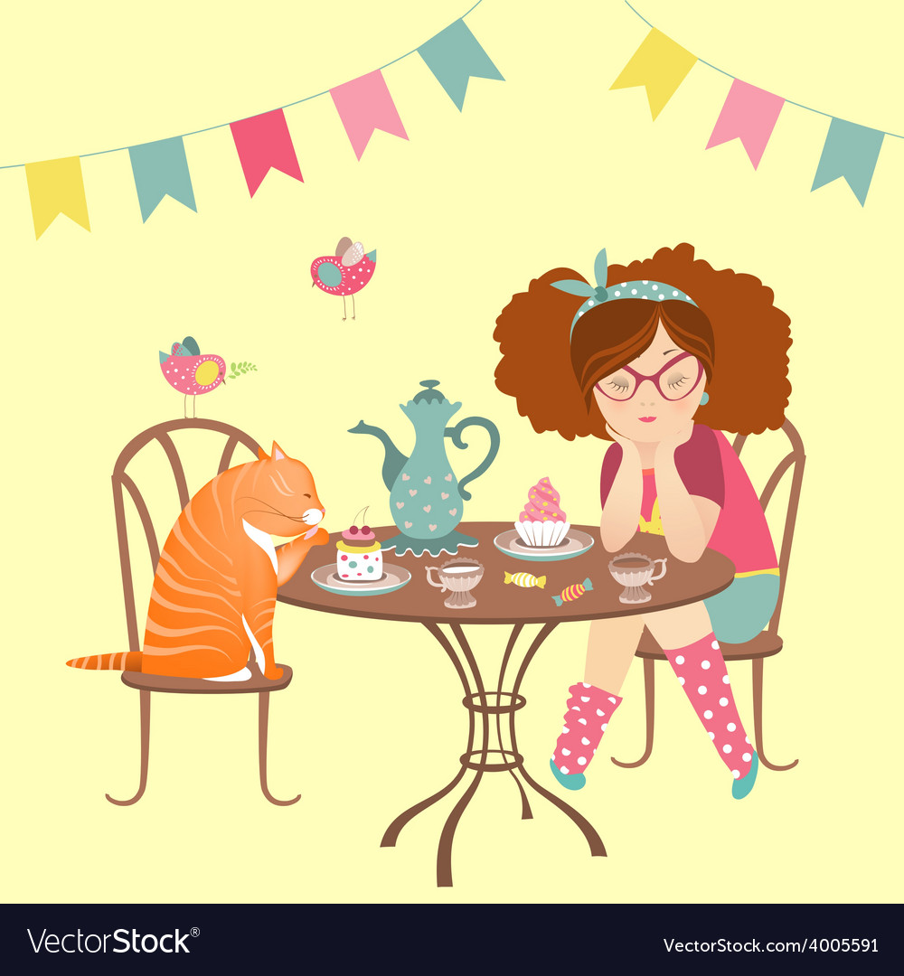 Beautiful girl drinking coffee with funny cat vector | Price: 1 Credit (USD $1)