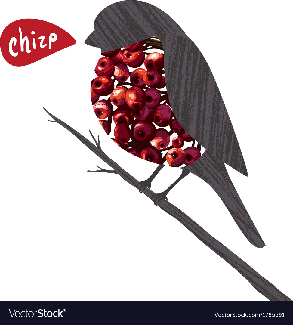 Bullfinch sitting on ashberry twig saying chirp vector | Price: 1 Credit (USD $1)