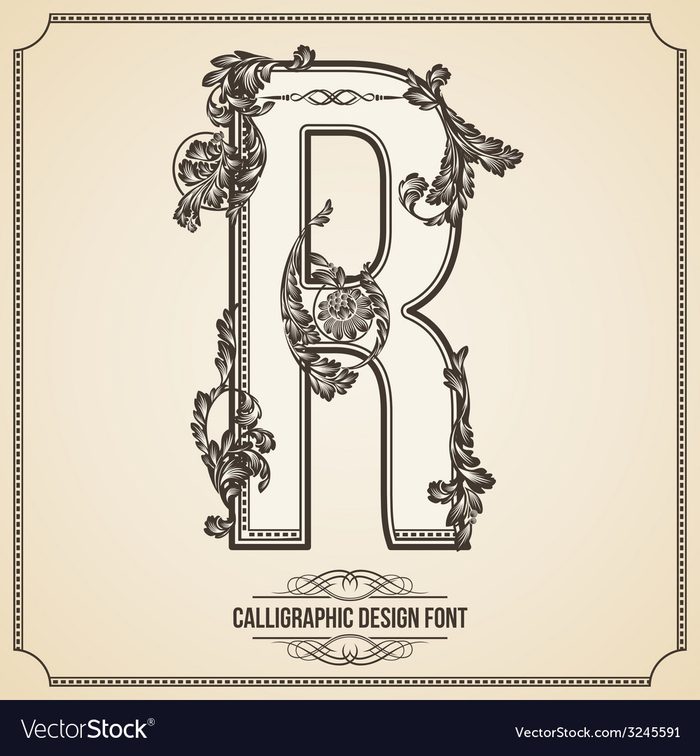 Calligraphic font letter r vector | Price: 1 Credit (USD $1)