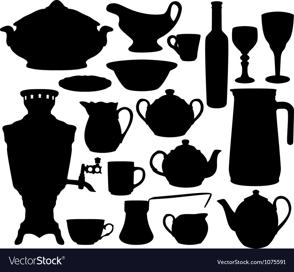 Dishes silhouettes set vector | Price: 1 Credit (USD $1)