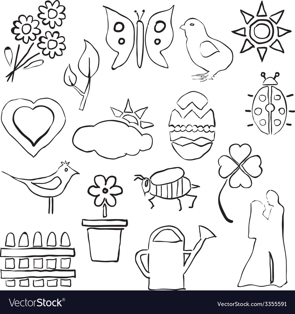 Doodle spring images vector | Price: 1 Credit (USD $1)
