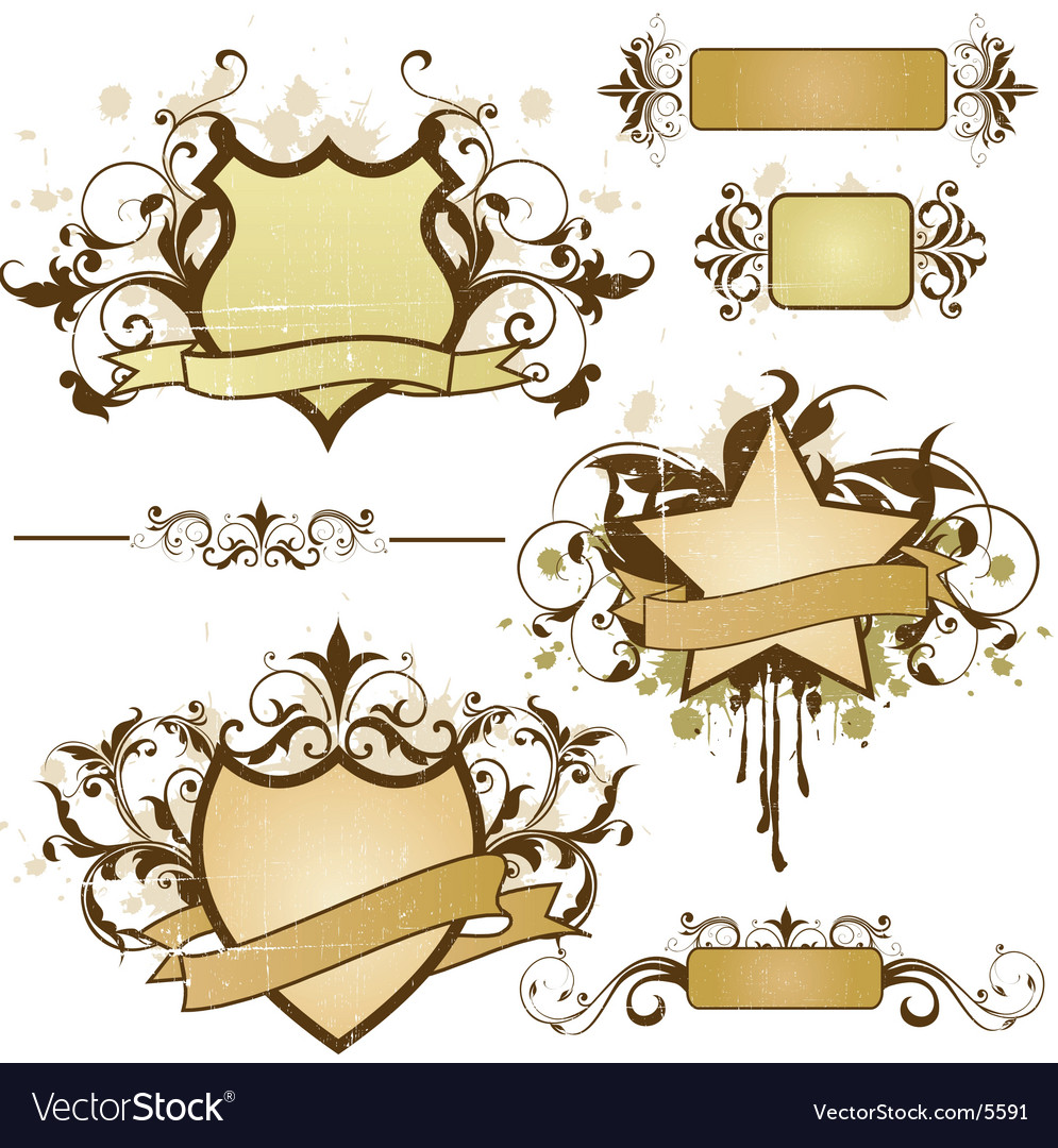 Grunge heraldry elements vector | Price: 3 Credit (USD $3)