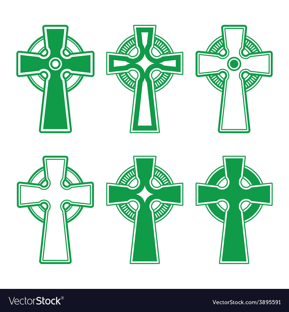 Irish scottish celtic green cross on white - vect vector | Price: 1 Credit (USD $1)