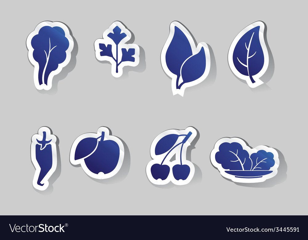 Leaves and fruit icons vector | Price: 1 Credit (USD $1)