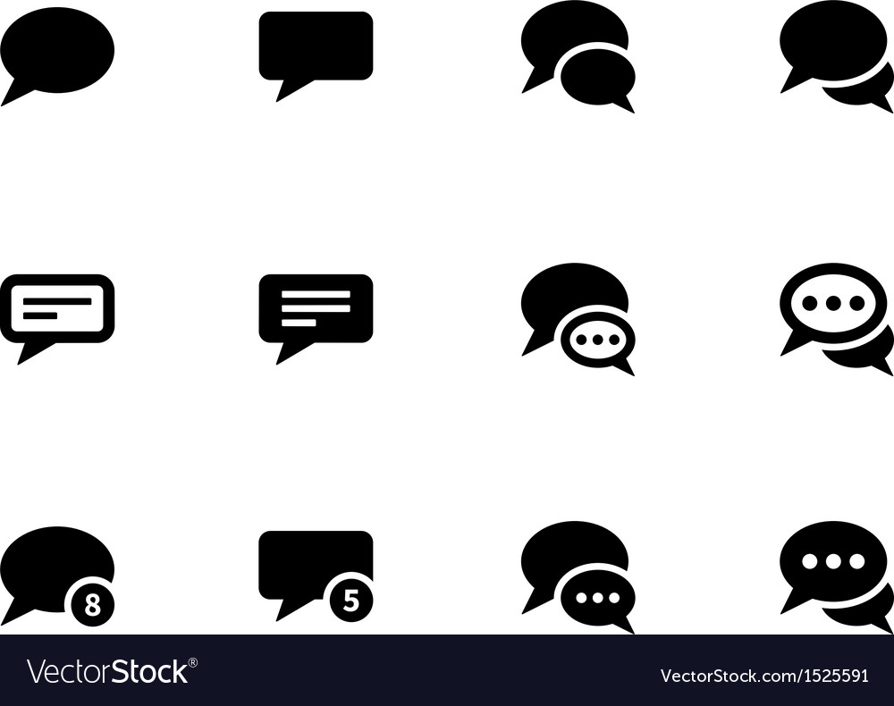 Message bubble icons on white background vector | Price: 1 Credit (USD $1)