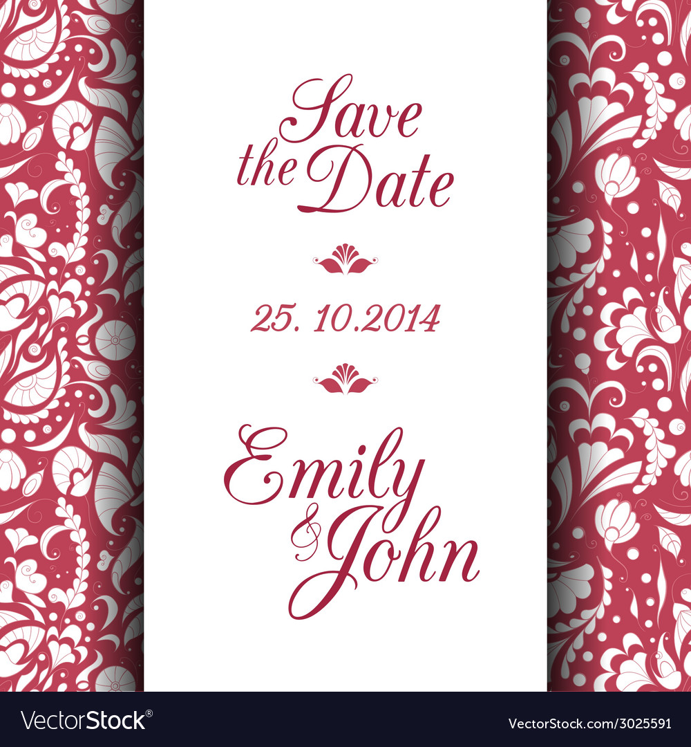 Save the date invitation card vector | Price: 1 Credit (USD $1)
