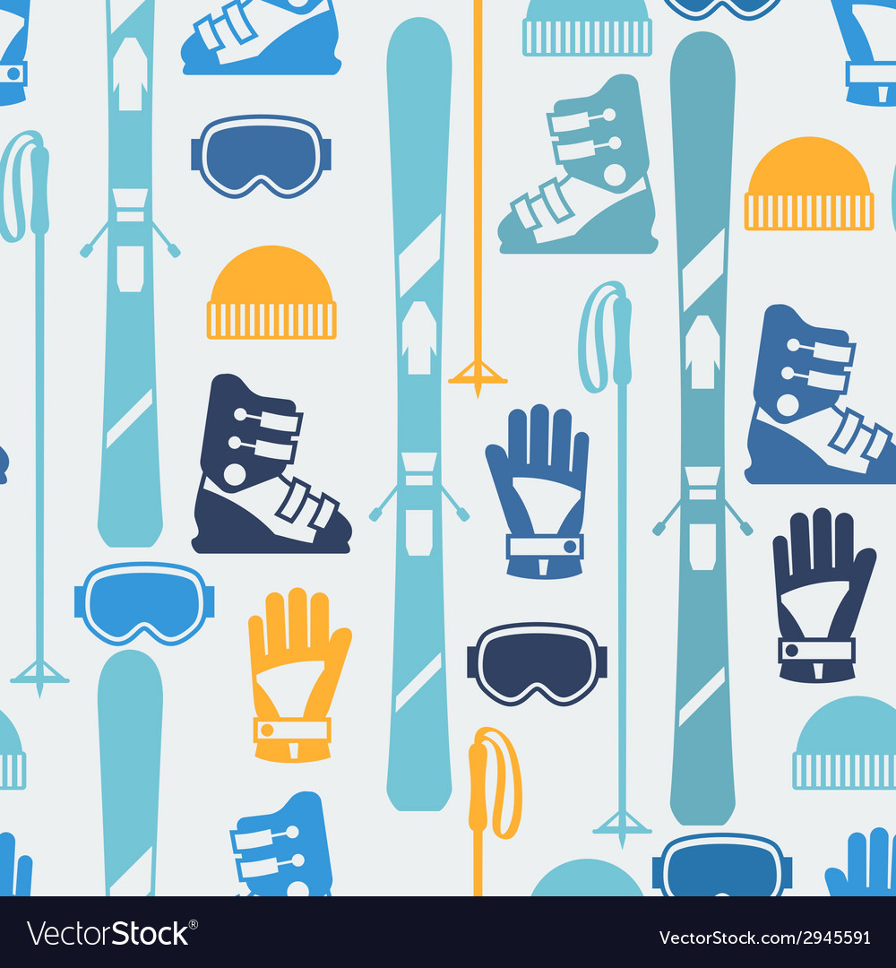Sports seamless pattern with skiing equipment flat vector | Price: 1 Credit (USD $1)