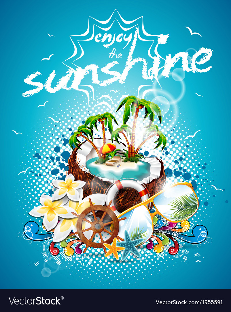 Summer holiday flyer design with coconut and parad vector | Price: 3 Credit (USD $3)