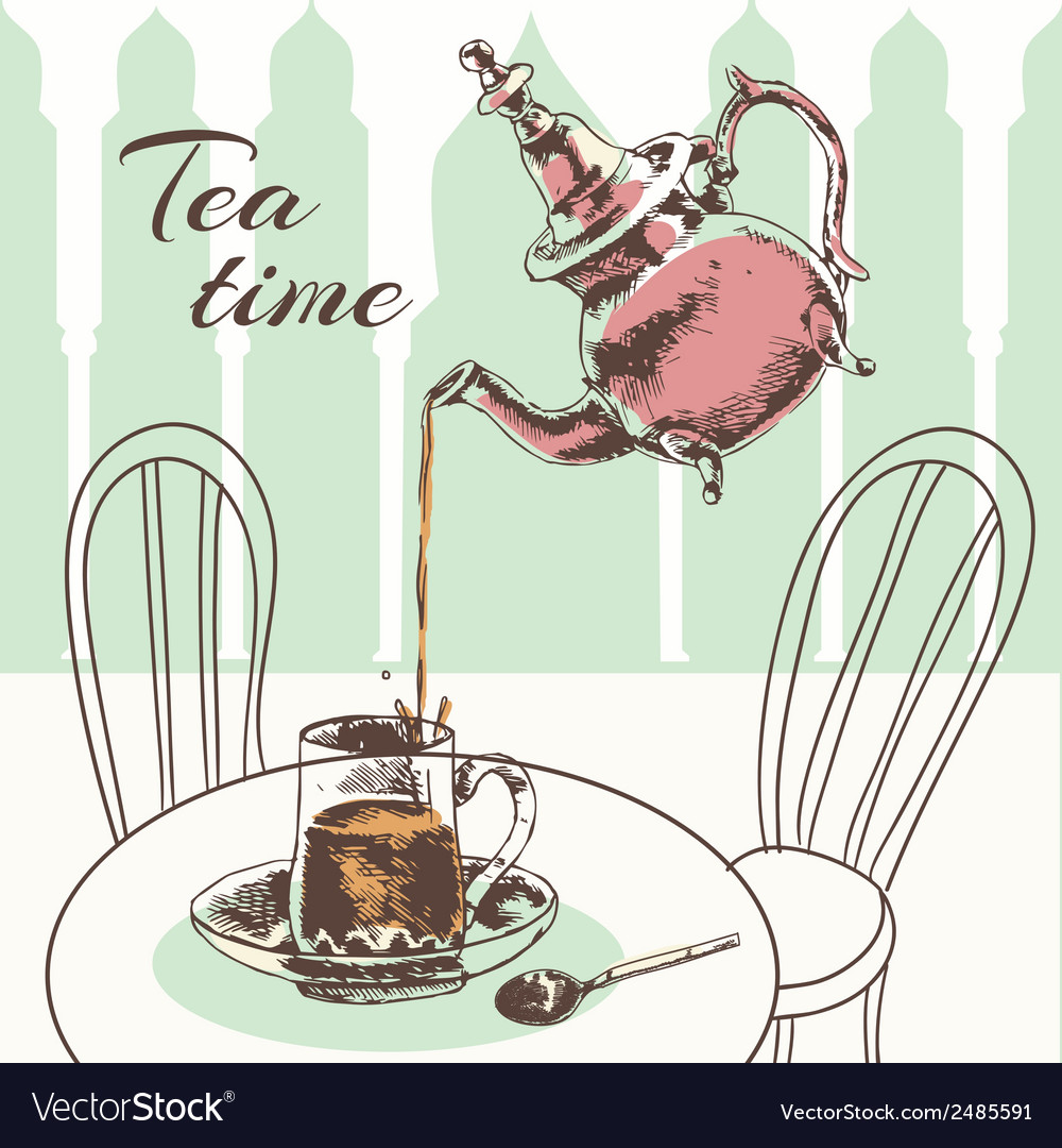 Teapot and cup tea time poster vector | Price: 1 Credit (USD $1)