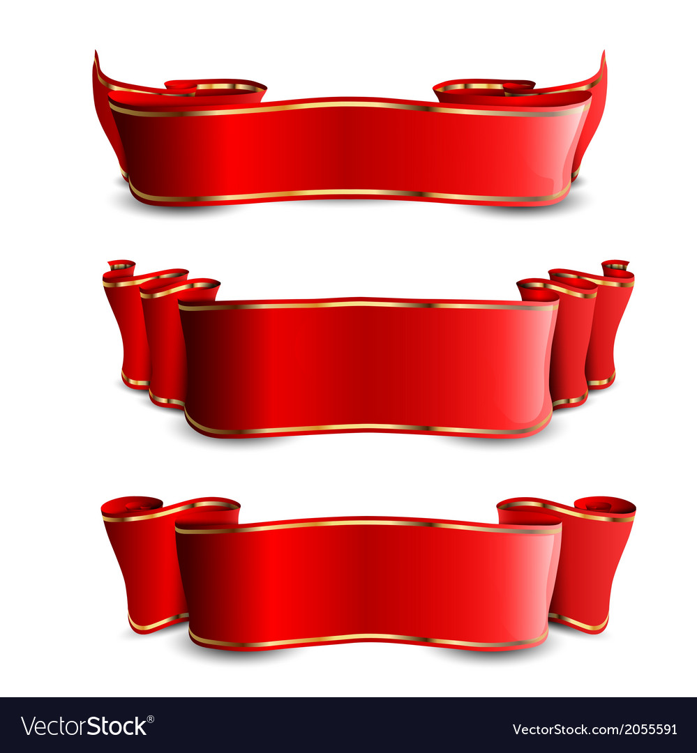 Three red tapes with golden stripes vector | Price: 1 Credit (USD $1)