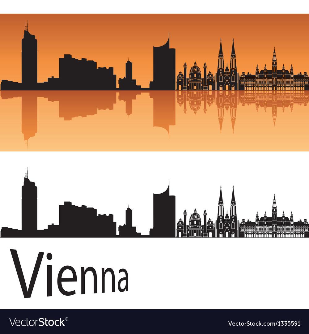 Vienna skyline in orange background vector | Price: 1 Credit (USD $1)
