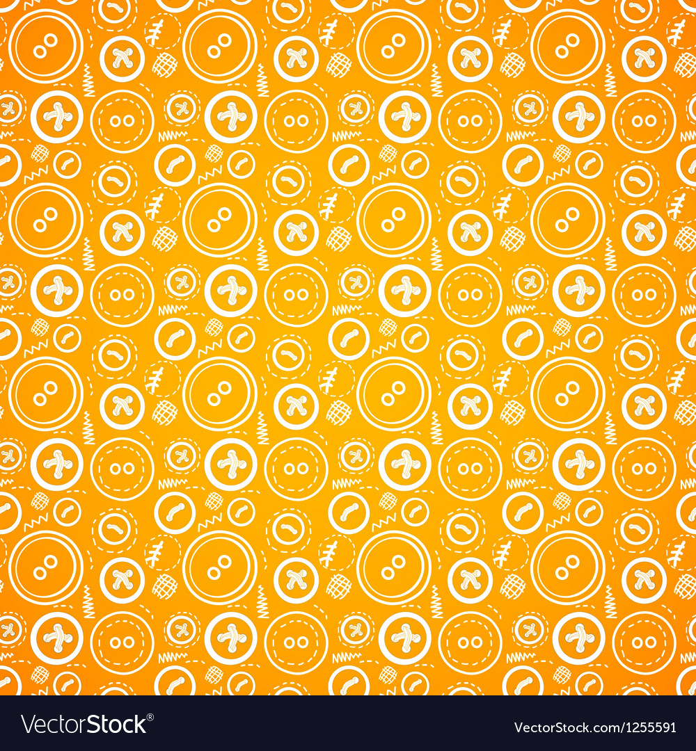 Vintage buttons sew seamless pattern in orange vector | Price: 1 Credit (USD $1)