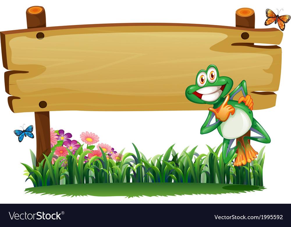 An empty wooden signboard with a playful frog vector | Price: 3 Credit (USD $3)