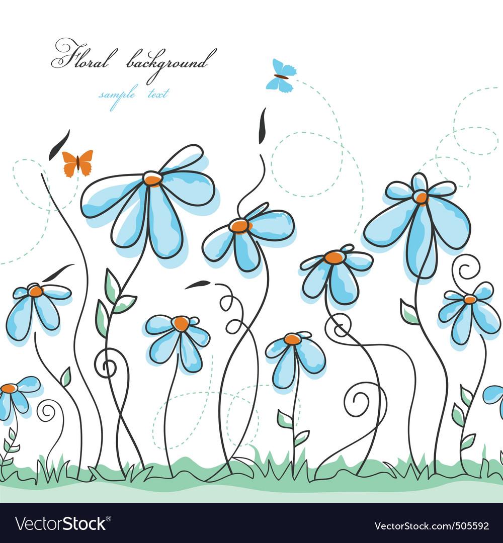 Blue floral garden vector | Price: 1 Credit (USD $1)