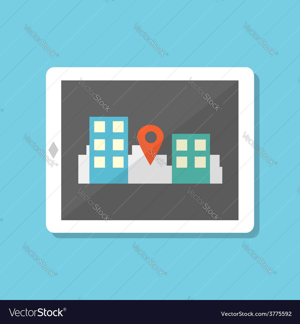 Flat style tablet with gps navigation in city vector | Price: 1 Credit (USD $1)