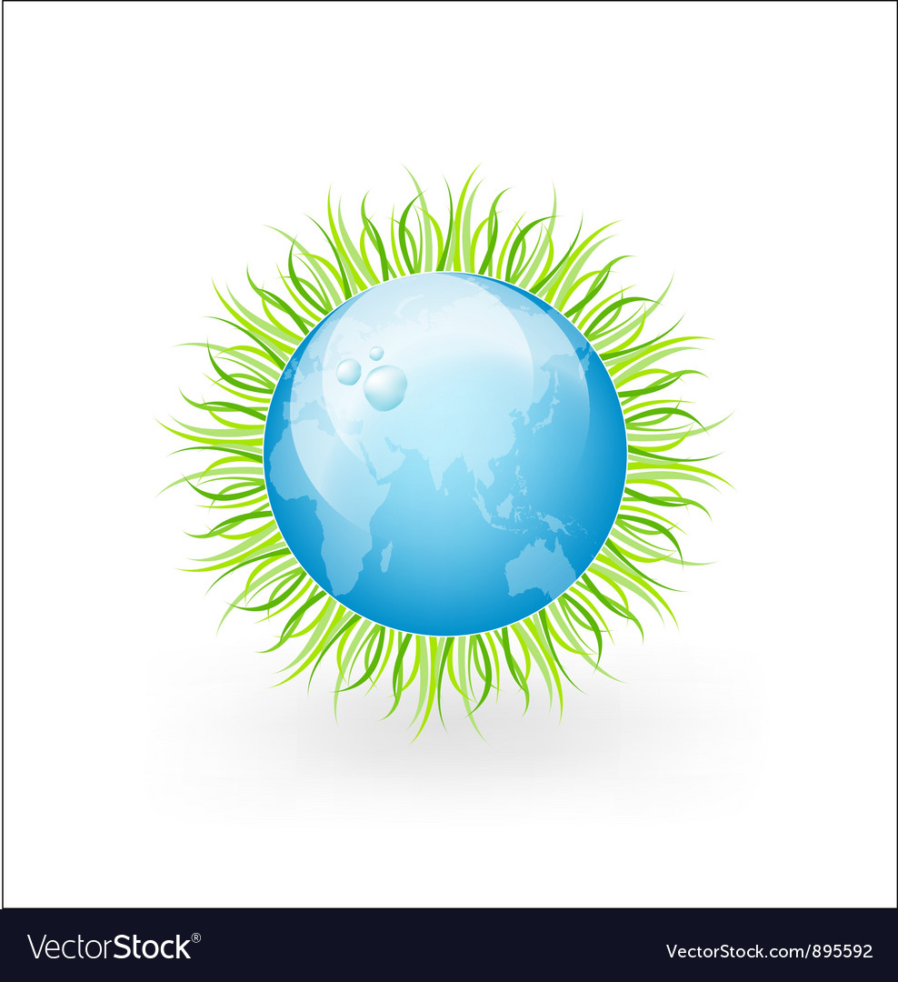 Globe with grass and water drops vector | Price: 1 Credit (USD $1)