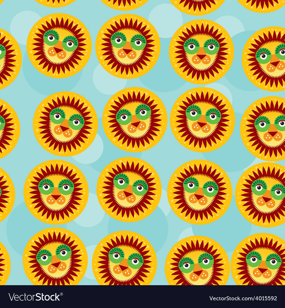 Lion seamless pattern with funny cute animal face vector | Price: 1 Credit (USD $1)