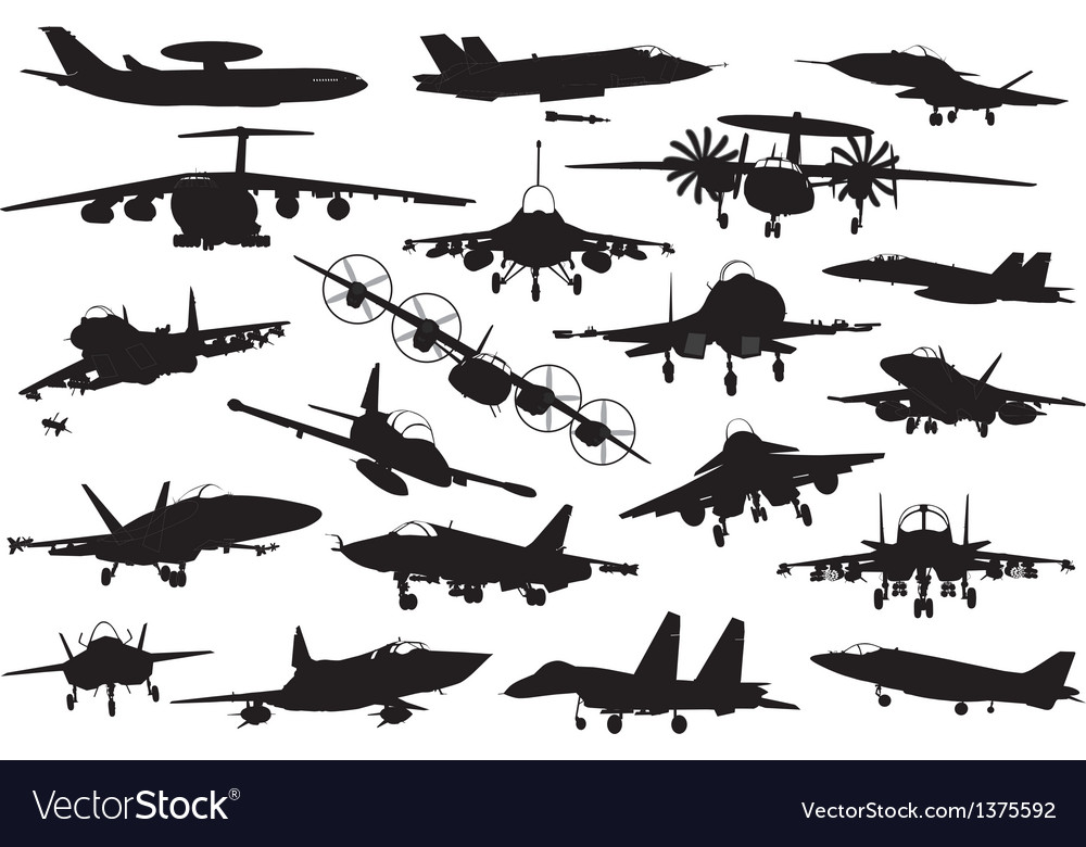 Military aircrafts set vector | Price: 3 Credit (USD $3)