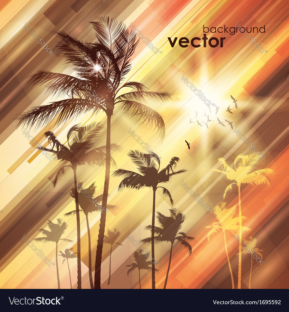 Palm trees at sunset vector | Price: 1 Credit (USD $1)