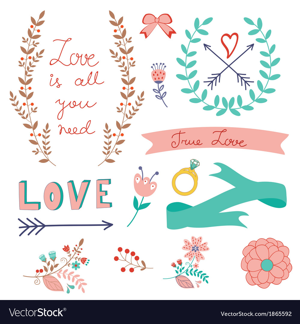 Romantic love collection vector | Price: 1 Credit (USD $1)
