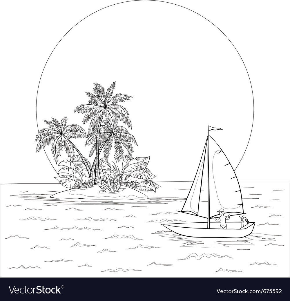 Sailing boat in the tropical sea contours vector | Price: 1 Credit (USD $1)