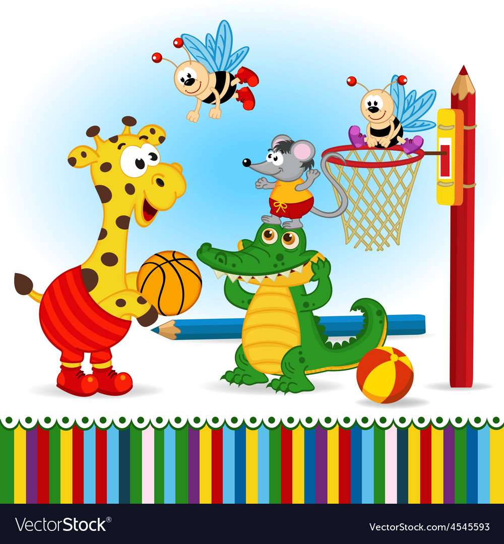 Animals play basketball vector | Price: 1 Credit (USD $1)