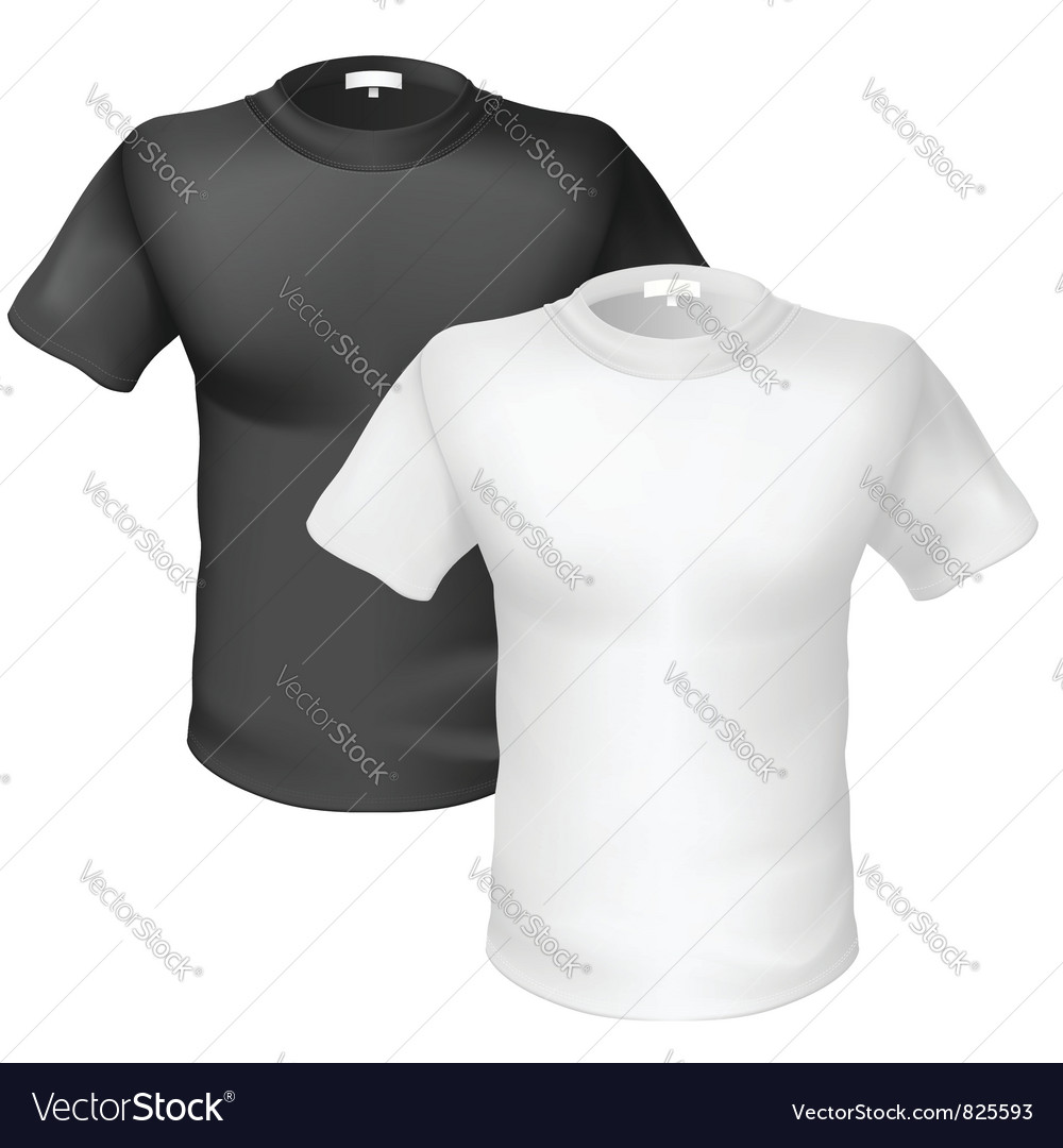Black and white tshirt front view vector | Price: 1 Credit (USD $1)