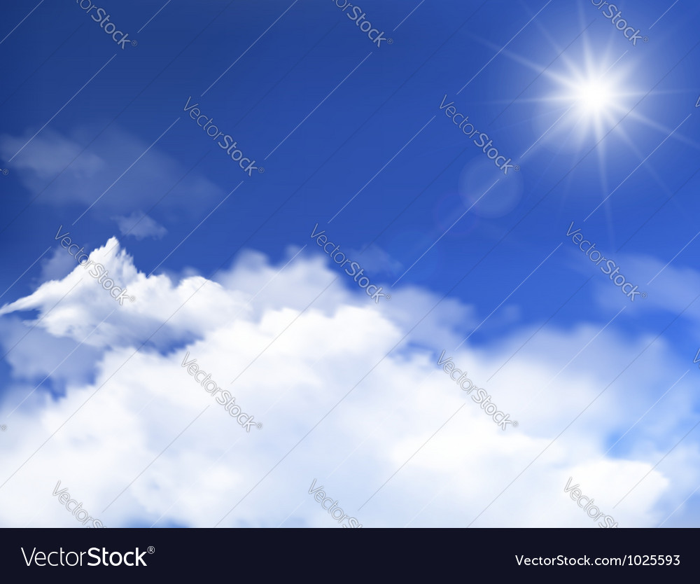 Blue sky with clouds and sun background vector | Price: 3 Credit (USD $3)