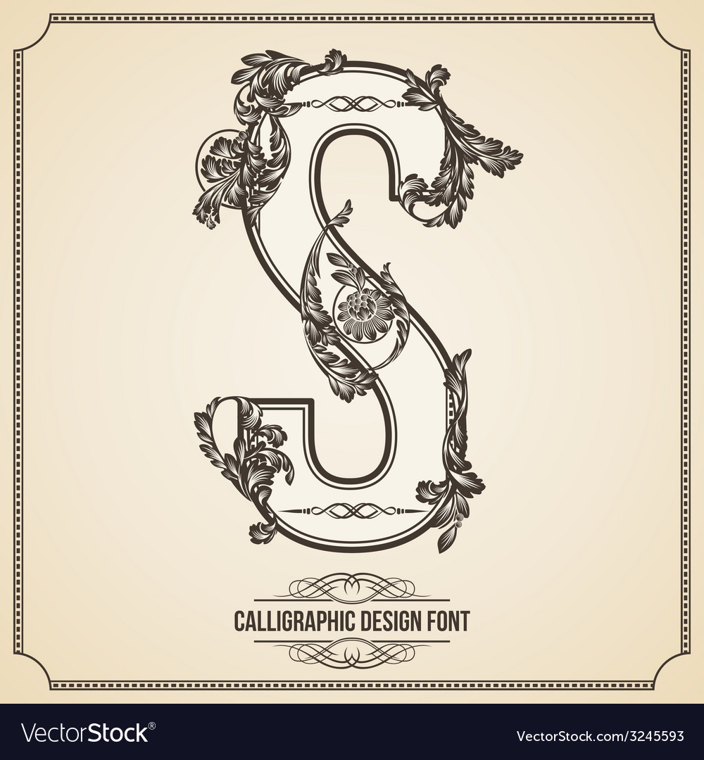 Calligraphic font letter s vector | Price: 1 Credit (USD $1)