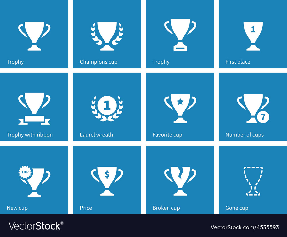 Champions cup icons on blue background vector | Price: 1 Credit (USD $1)