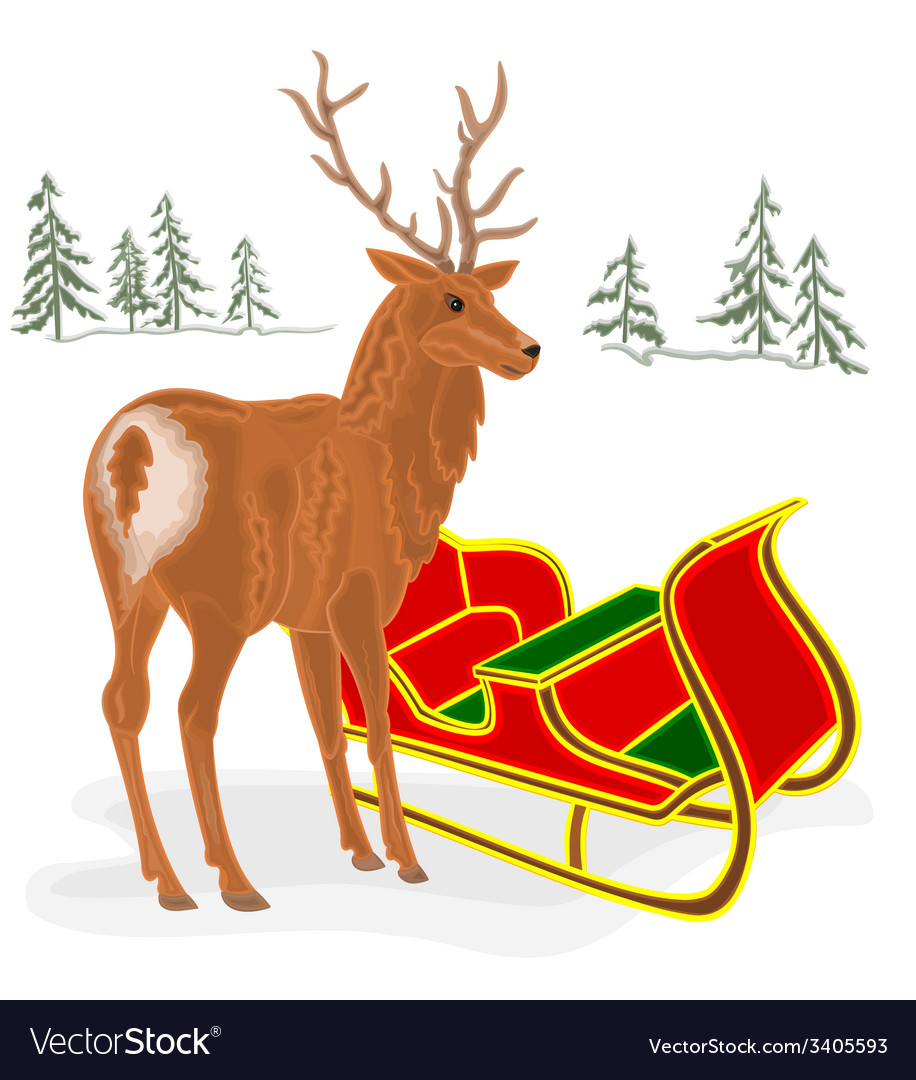 Christmas reindeer with santa sleigh vector   Price: 1 Credit (USD $1)
