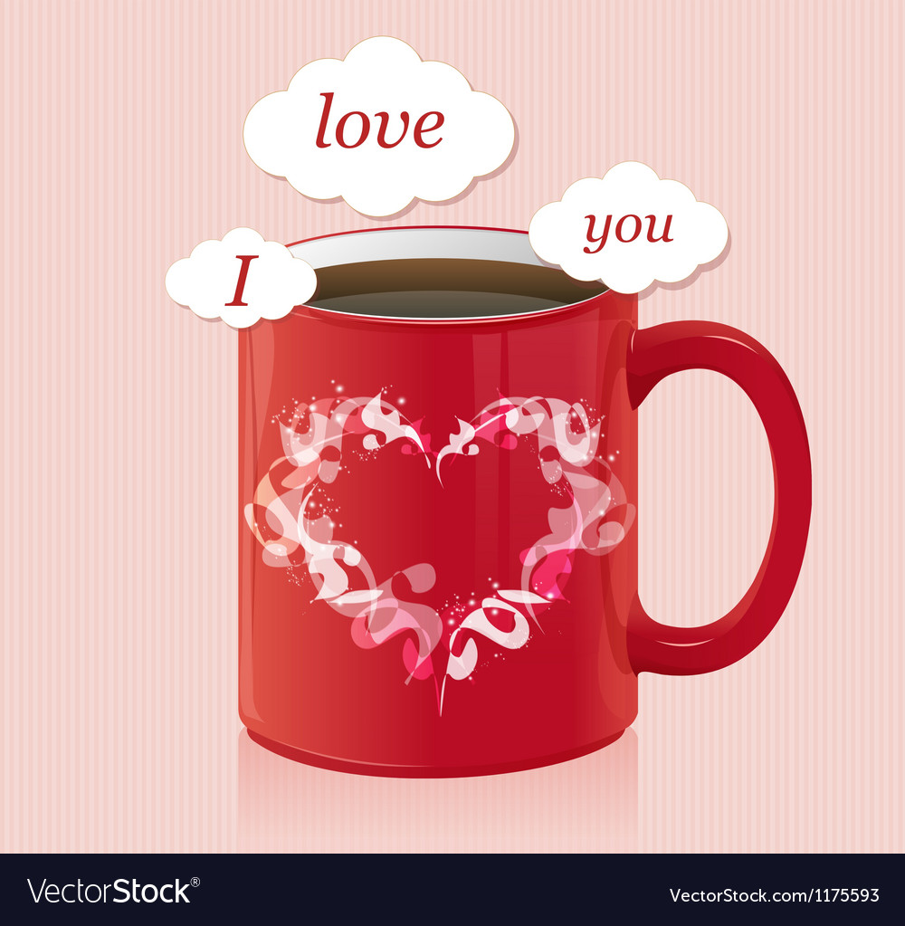 Coffee cup with text area valentines day card vector | Price: 1 Credit (USD $1)