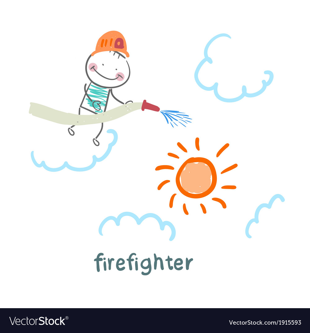 Firefighter puts out the sun vector | Price: 1 Credit (USD $1)