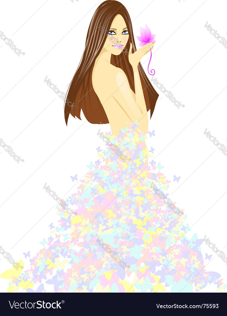 Girl in dress from butterflies vector | Price: 3 Credit (USD $3)