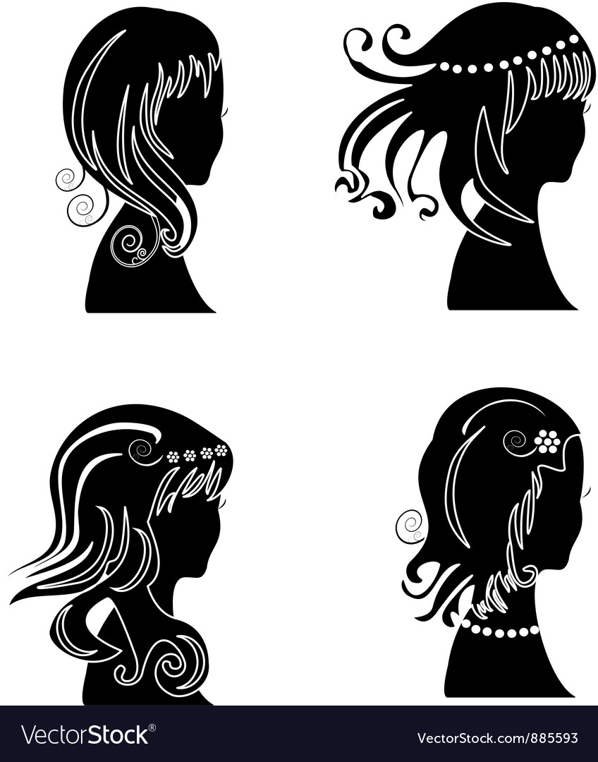 Set of women with beauty hair vector | Price: 1 Credit (USD $1)