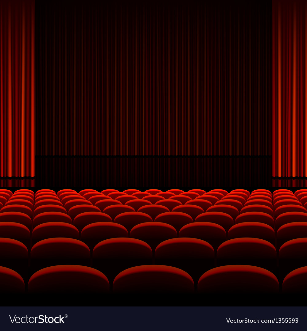 Theater interior with red curtains and seats vector | Price: 1 Credit (USD $1)