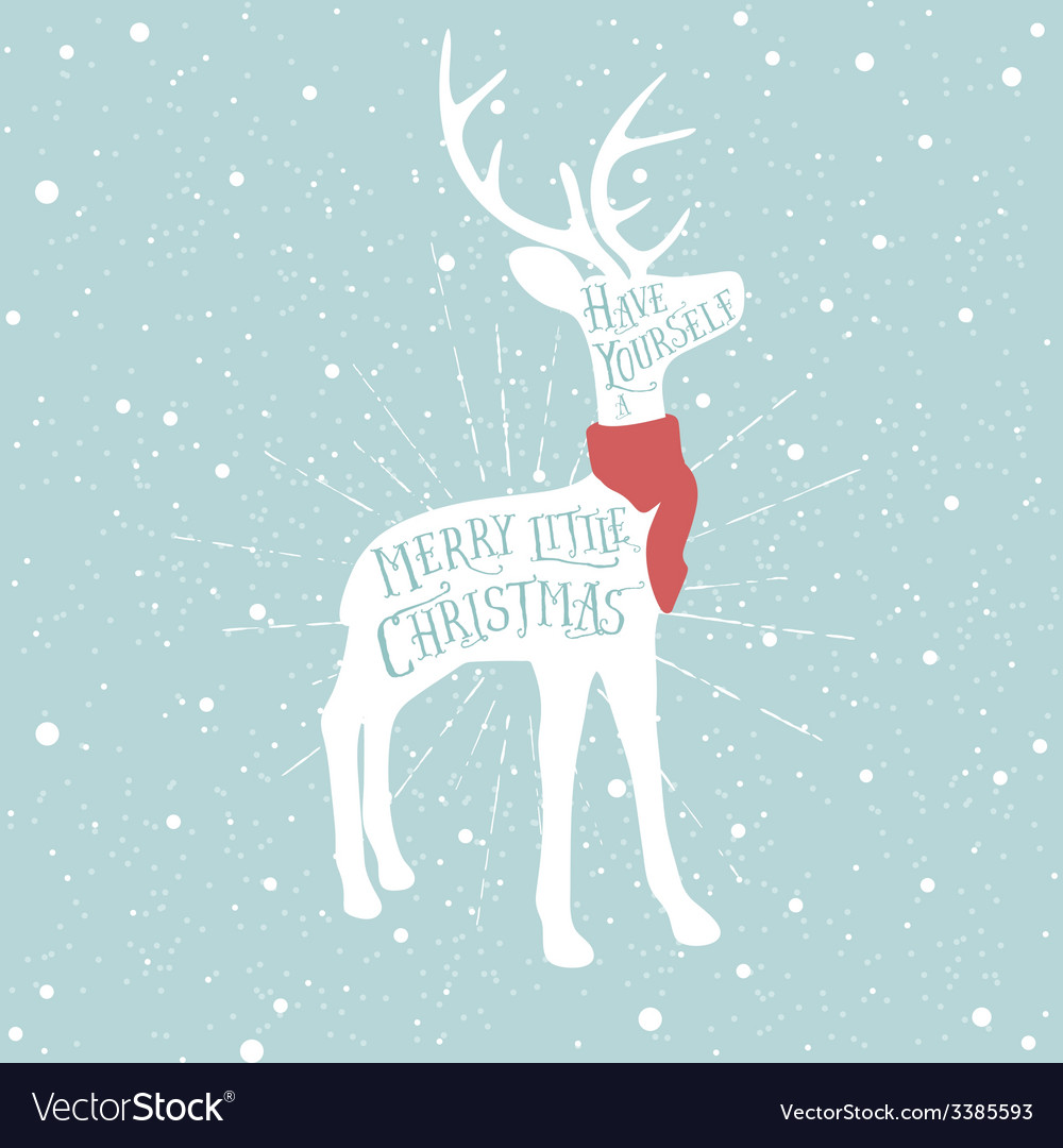Vintage christmas greeting card with reindeer vector | Price: 1 Credit (USD $1)