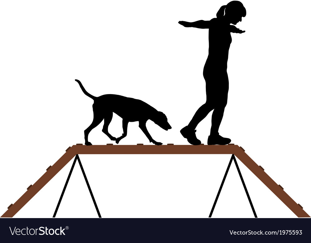 Woman and dog on dogwalk vector | Price: 1 Credit (USD $1)