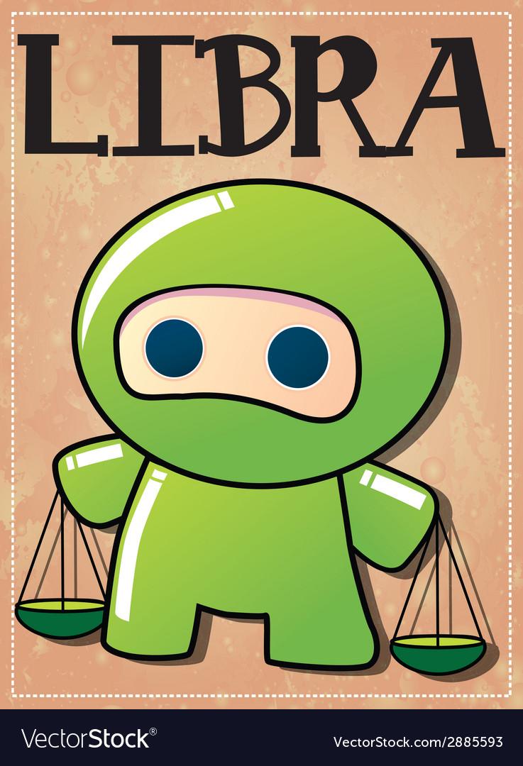 Zodiac sign libra with cute black ninja character vector | Price: 1 Credit (USD $1)