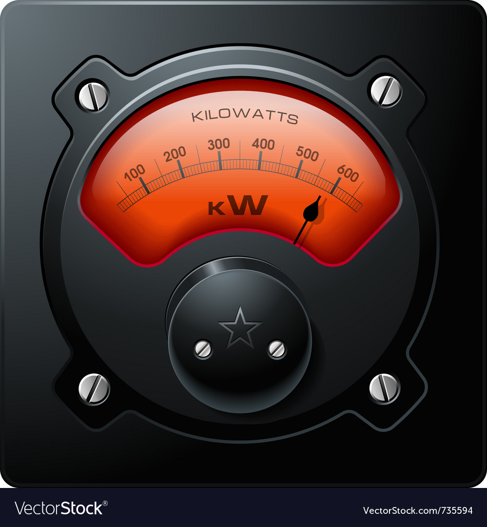 Analog electrical realistic meter red vector | Price: 3 Credit (USD $3)