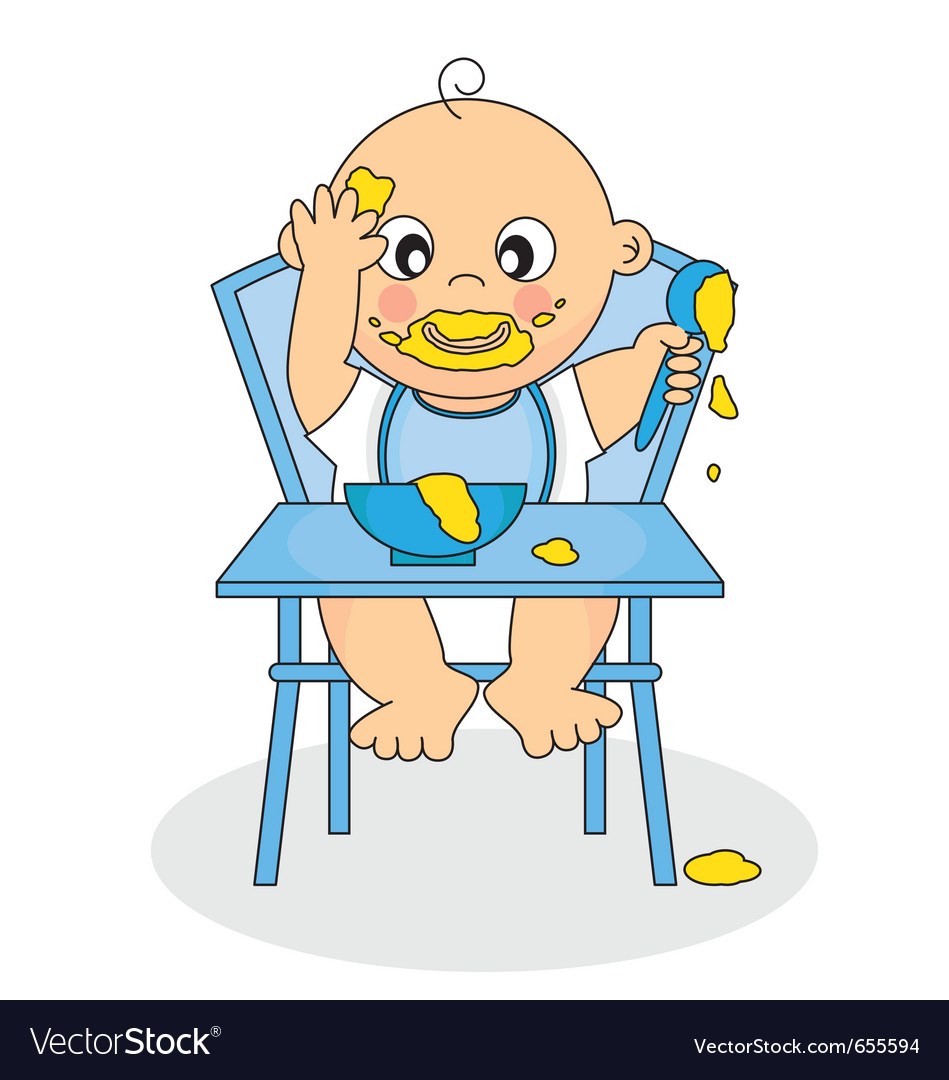 Baby eating vector | Price: 1 Credit (USD $1)
