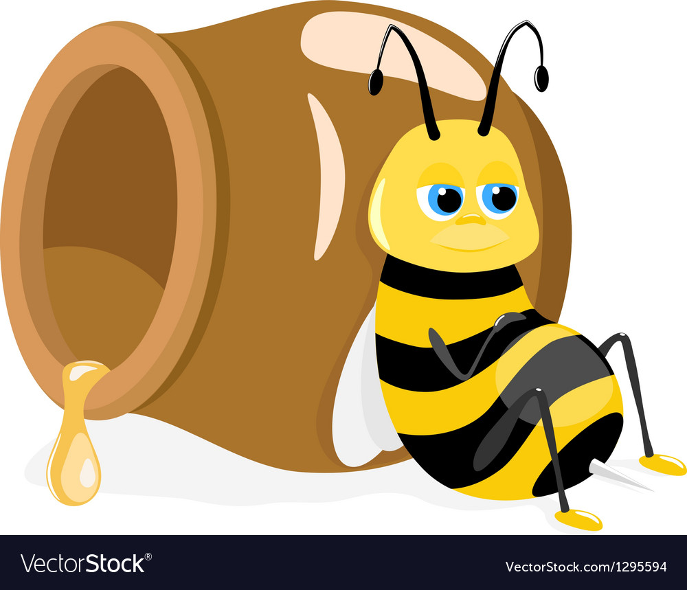 Cartoon bee sitting about honey pot on white vector | Price: 3 Credit (USD $3)