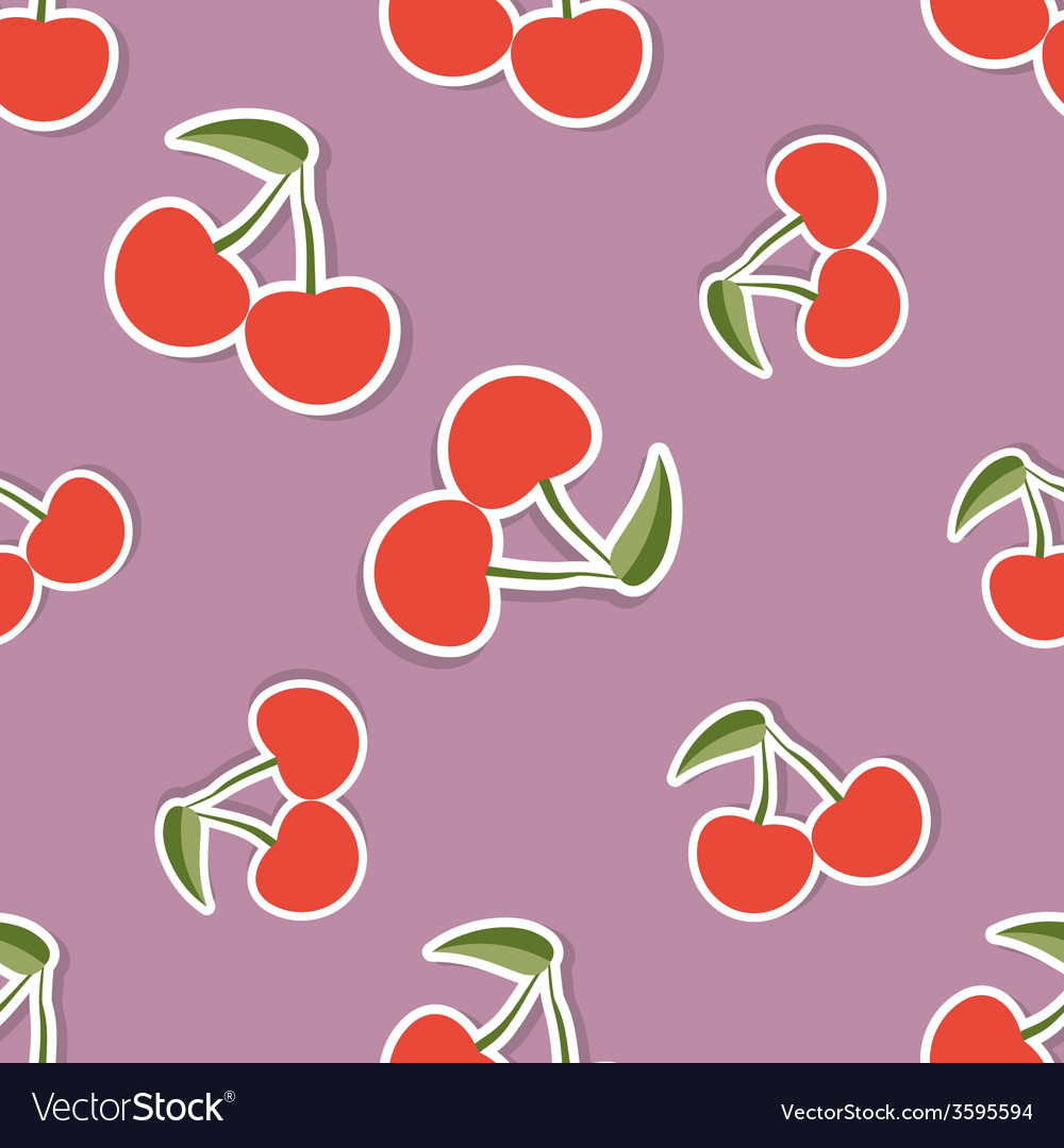 Cherry pattern seamless texture with ripe red vector   Price: 1 Credit (USD $1)