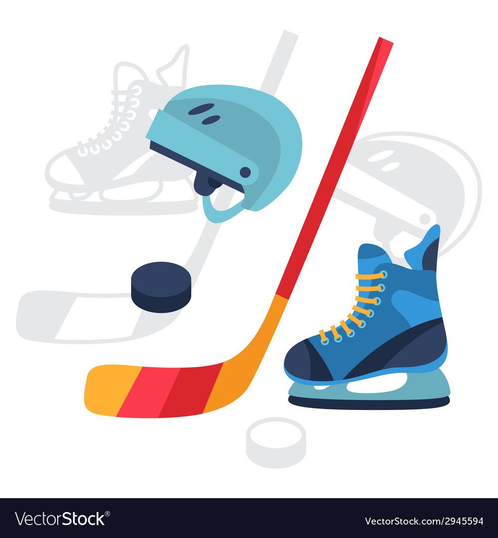 Hockey equipment icons set in flat design style vector | Price: 1 Credit (USD $1)