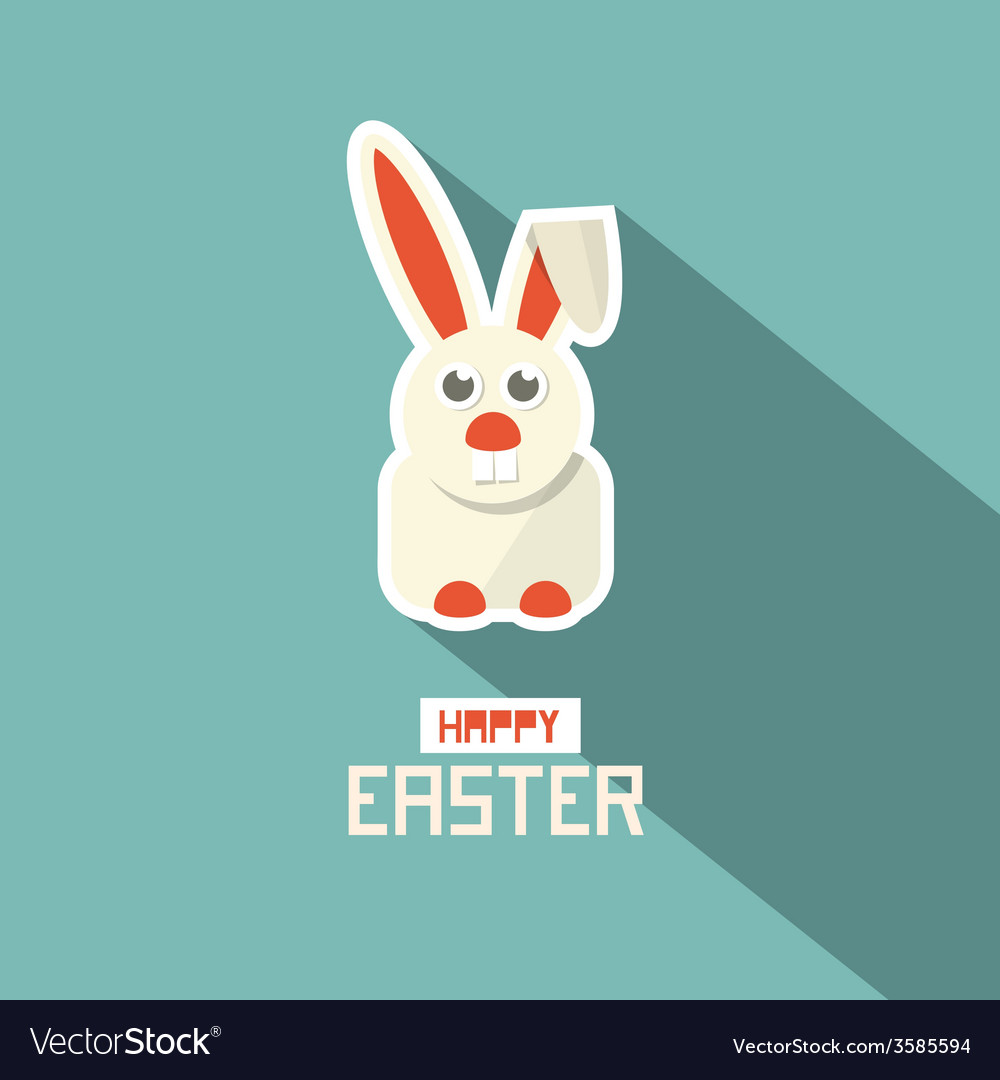 Retro easter paper flat design bunny vector | Price: 1 Credit (USD $1)