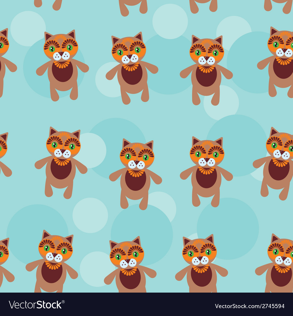 Seamless pattern with funny cute cat animal on a vector | Price: 1 Credit (USD $1)
