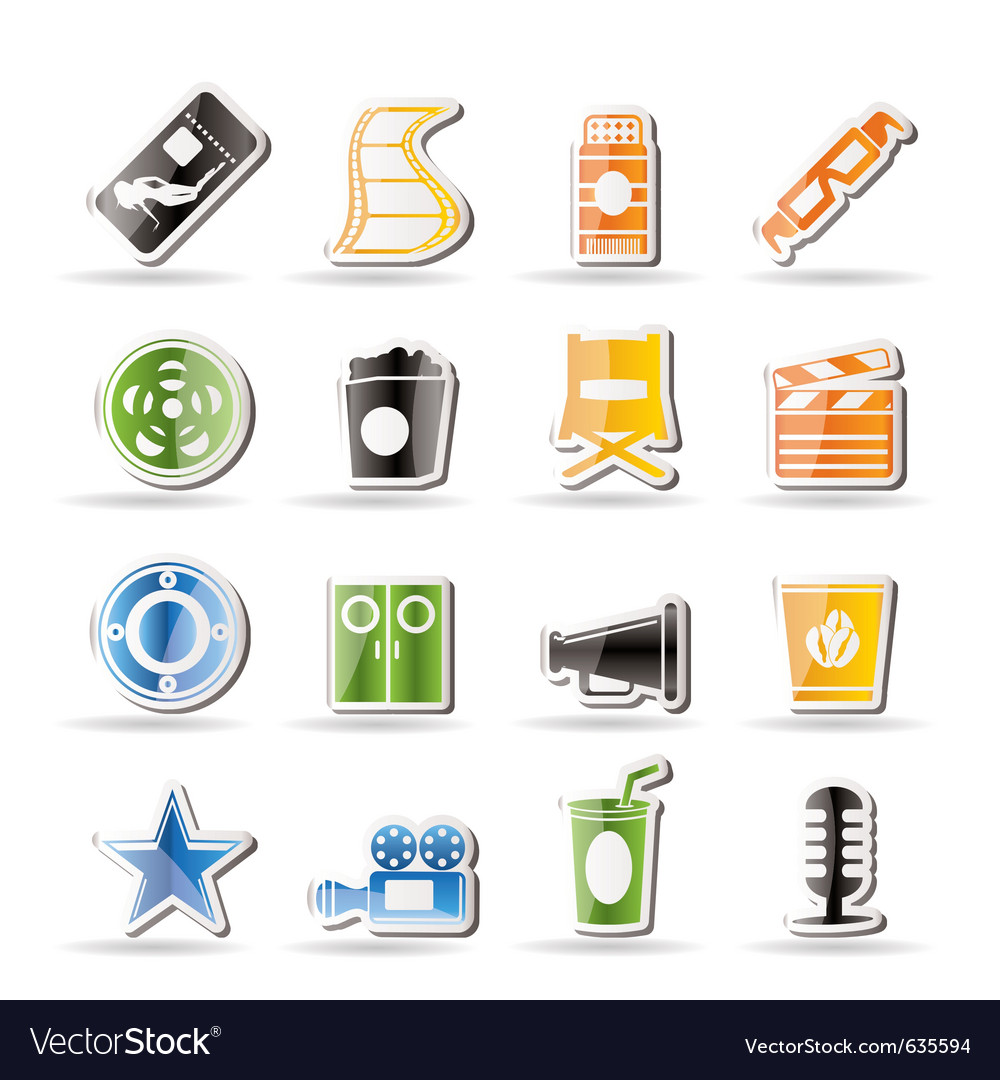 Simple cinema and movie icons vector | Price: 1 Credit (USD $1)